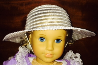 Doll Size Dress Up WHITE TEA PARTY HAT fits 18 inch American Girl Doll or 12