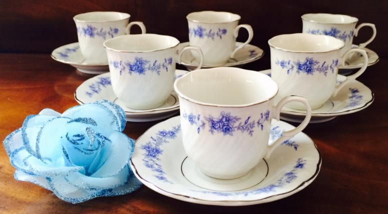 Childrens size wholesale bulk discount teacups tea cups Blue Rose